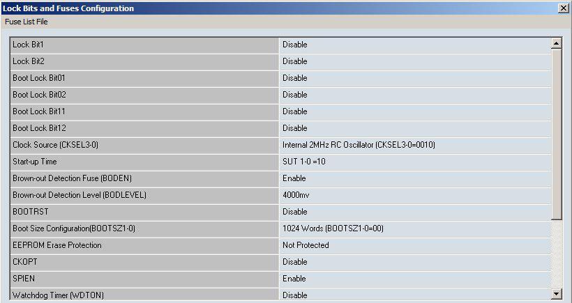فیوز بیت اتمگا8 در پروگرامر tnm5000